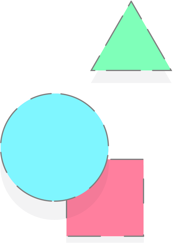 A red square, blue circle, and green triangle