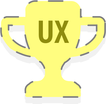 A golden trophy with the letters 'UX' inscribed